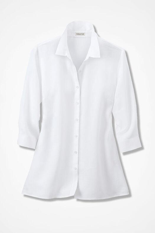 Linen Big Shirt, White, large