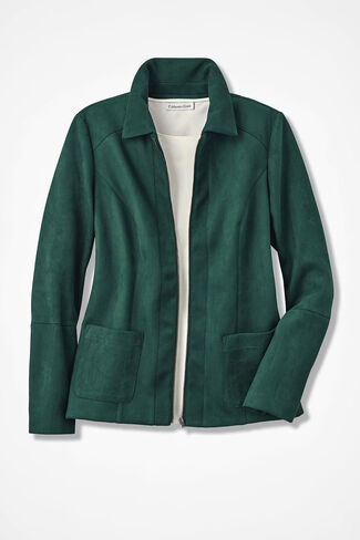 Modern Mode Faux Suede Jacket, Forest, large