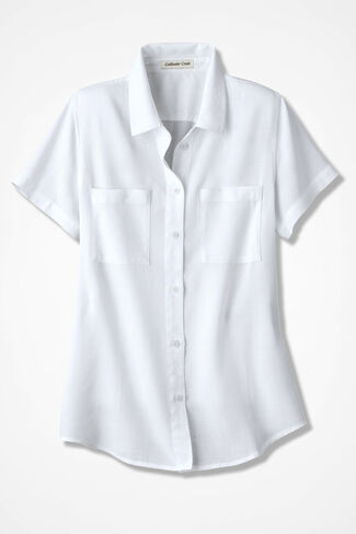 NEW Relaxed Tencel® Shirt, White, large
