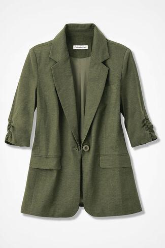 Linen Boyfriend Jacket, Cypress, large