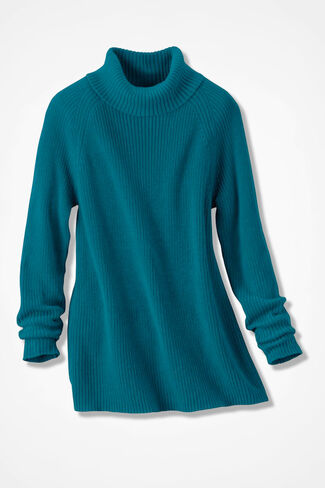 Shaker Turtleneck Tunic, Teal, large