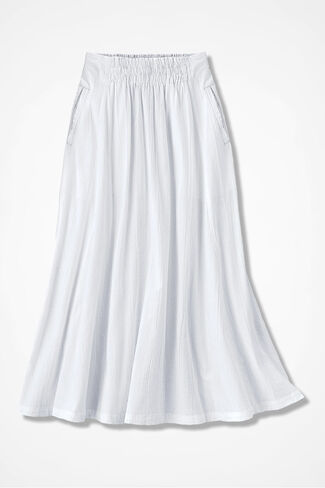 Crinkle Cotton Skirt, White, large