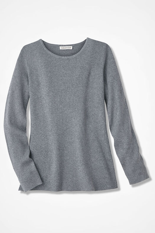 Long Sleeve Ribbed Sweater, Mid Heather Grey, large