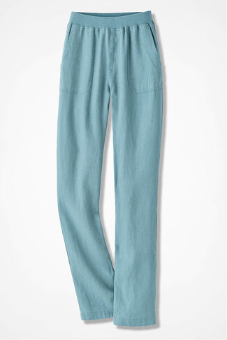 Easy Linen Pull-On Pants, Robins Egg, large