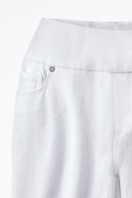 Knit Denim Pull-On Shorts, White, large