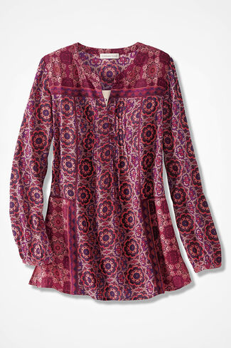 Mixed Mosaics Woven Tunic, Raspberry Multi, large
