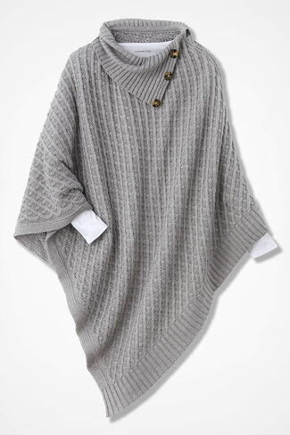 Sweater-Weather Button-Trim Poncho, Grey, large