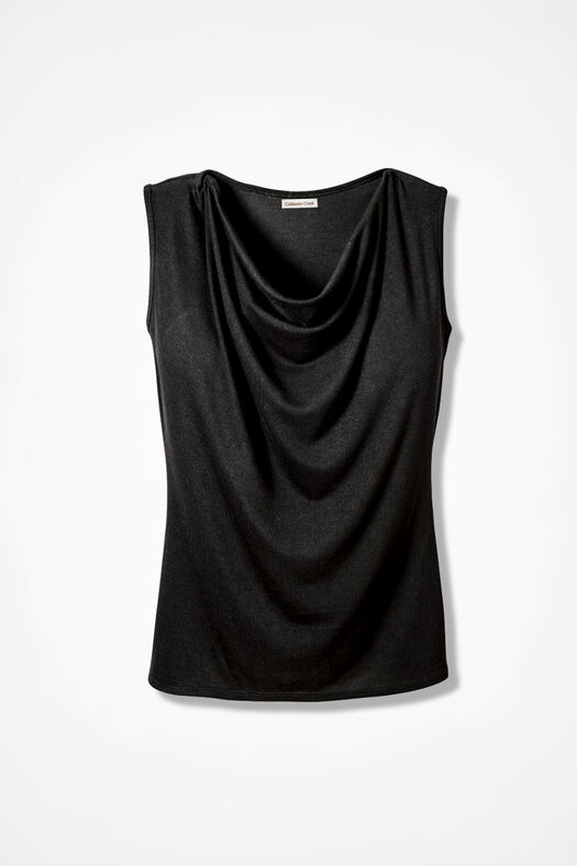Drape-Neck Shell, Black, large