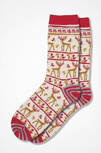 Reindeer Happy Holiday Socks, Ivory Multi, large