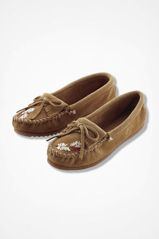 """X Moko Feather"" Suede Moccasins by Minnetonka®, Taupe, large"