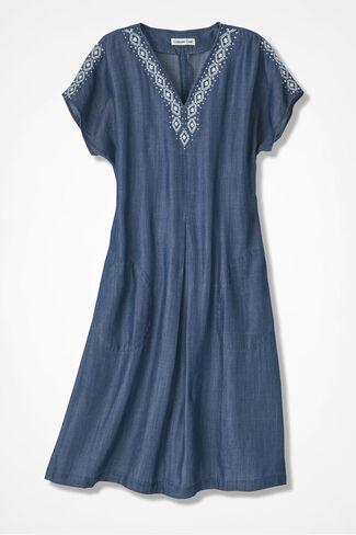Embroidered-Trim Tencel® Dress, Medium Blue Wash, large
