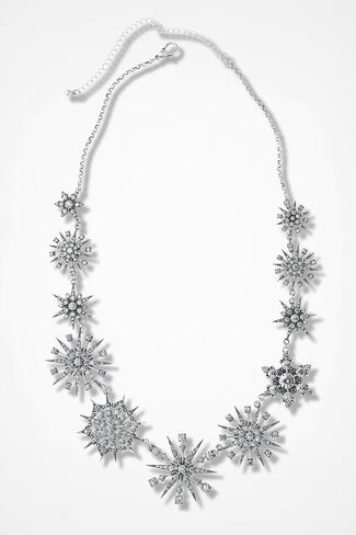 Snow Glow Sparkling Necklace, Silver, large
