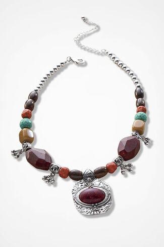 Adobe Artisan Pendant Necklace, Garnet Multi, large