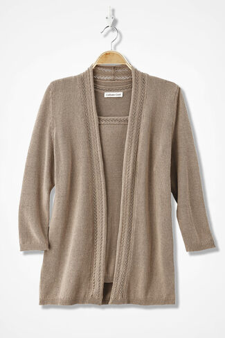 Pointelle Border Cardigan, Dune, large