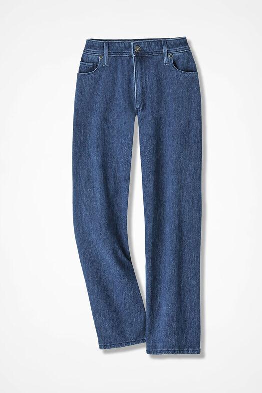 Knit Denim Cropped Jeans, Medium Wash, large