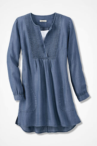 Tencel® Pintuck Tunic, Medium Wash, large