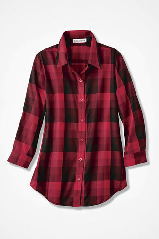 Great Red Plaid Easy Care Shirt, Fresh Red, large