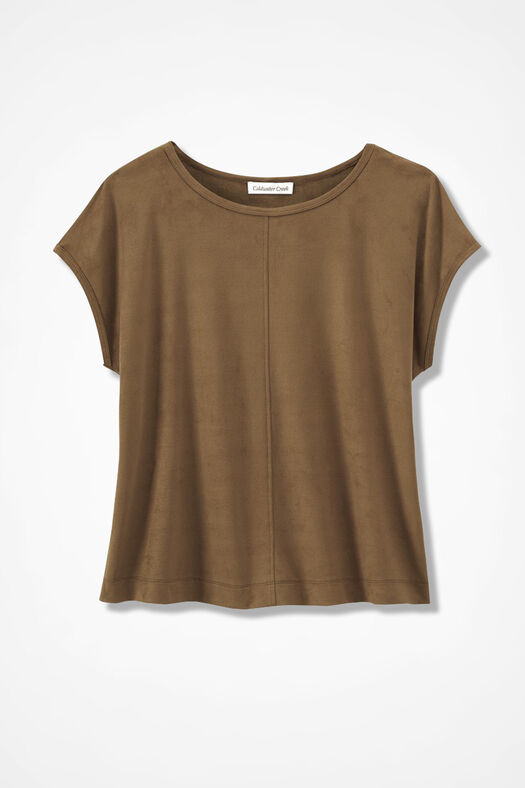 Suede-Touch Stretch Tee, Tan, large