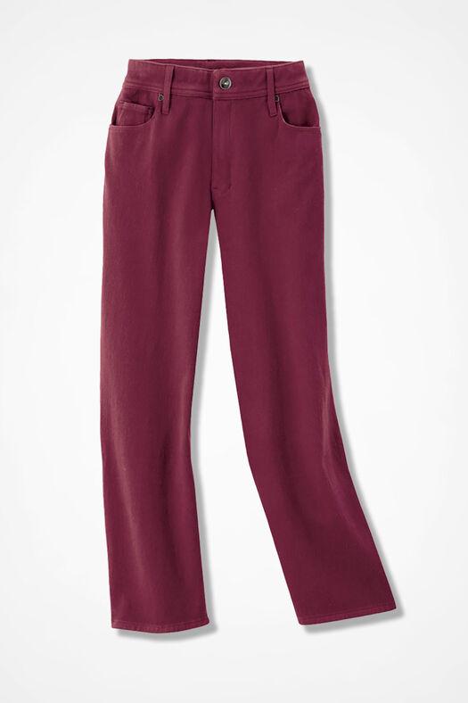 Knit Denim Cropped Jeans, Garnet, large
