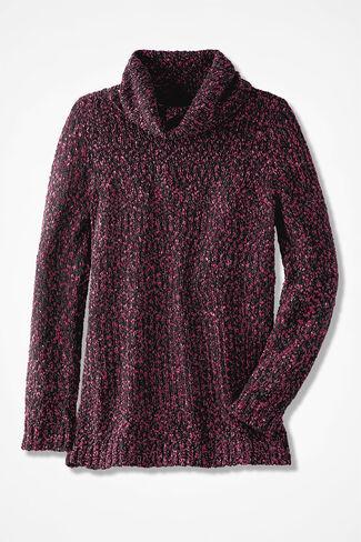 Rich Dimensions Cowlneck Sweater, Black Multi, large