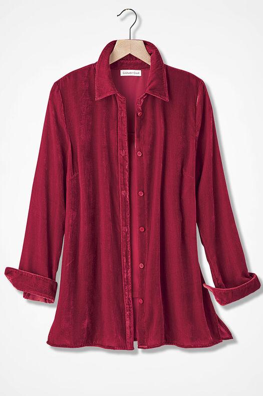 Velvet Big Shirt, Dover Red, large