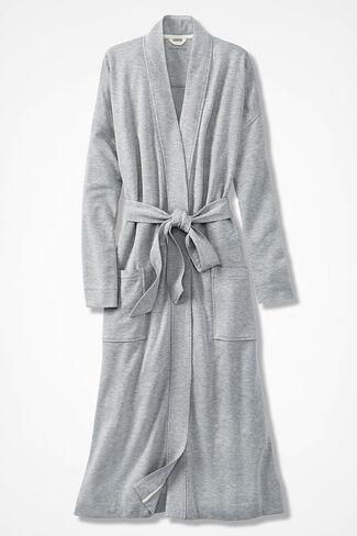 Superbly Soft Fleece Robe, Light Heather Grey, large