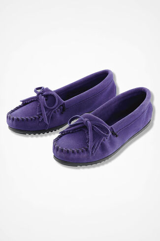 """Kilty"" Suede Moccasins by Minnetonka®, Ultra Violet, large"