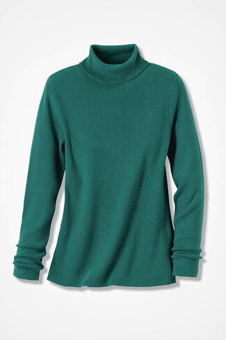 Ribbed Turtleneck Sweater, Emerald, large