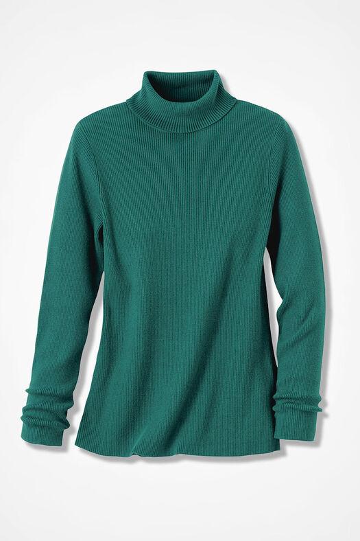 Ribbed Turtleneck Sweater, Emerald, large