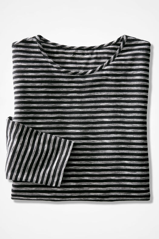 Weekend Striped Tunic, Black, large