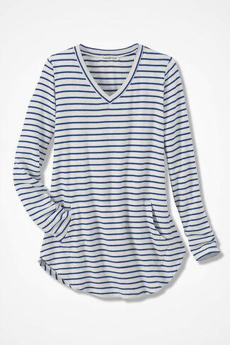 Striped Indulgence Knit Tunic, Ivory, large