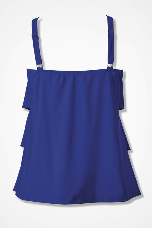 Solid Ruffled Tankini Top, Blueberry, large