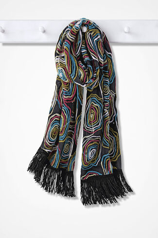 Color Wheels Scarf, Black Multi, large
