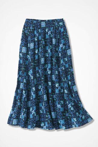 NEW Tile Print Crinkle Cotton Skirt, Cobalt Multi, large
