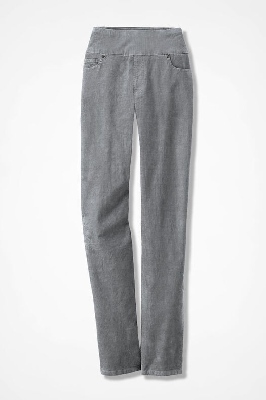 Pinwale Pull-On Stretch Corduroys, Pewter, large