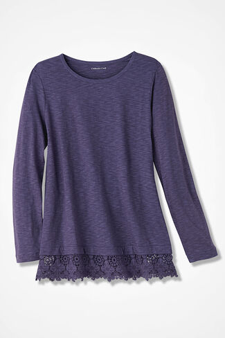 Peek of Lace Tee, Deep Thistle, large