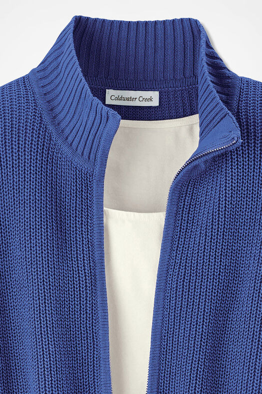 Shaker Zip-Front Cardigan, Iris Blue, large