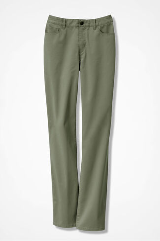 Washed CottonLuxe® Straight-Leg Pants, Light Vine, large
