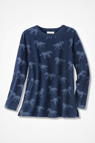 Wild Horses Sweatshirt, Ranch Blue, large