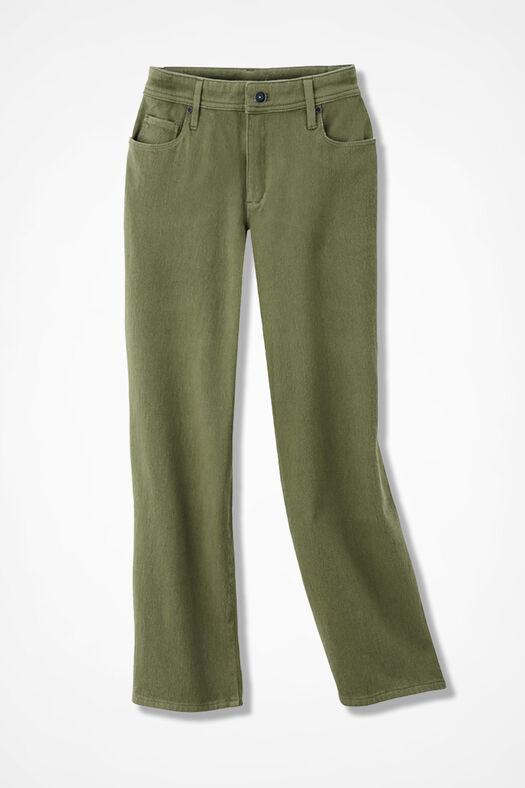 Knit Denim Cropped Jeans, Loden, large