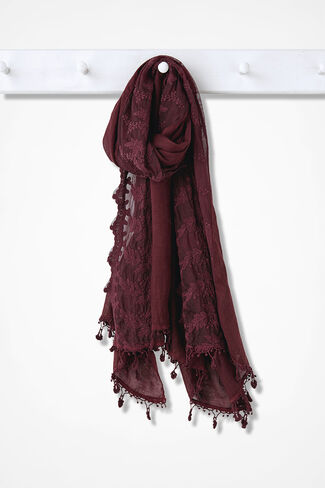 Lace Accented Scarf, Wine, large