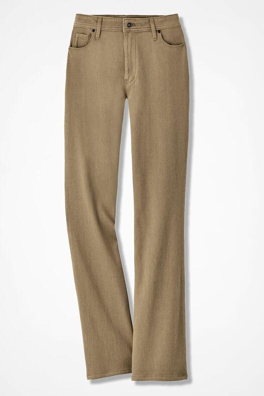 Knit Denim Bootcut Jeans, Sandhill Khaki, large
