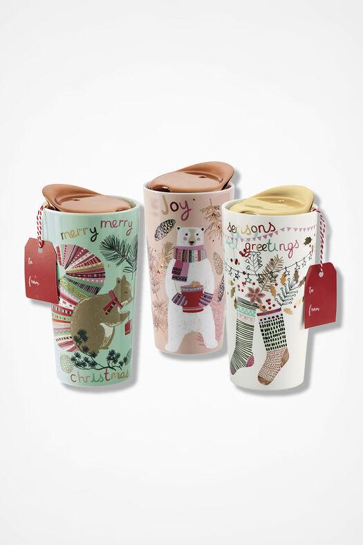 Holiday Ceramic Travel Mug, Ivory, large
