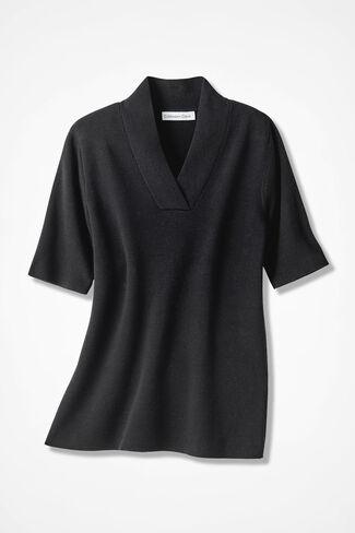 Crossover V-Neck Pullover, Black, large