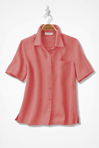New Linen Camp Shirt, Coral Rose, large