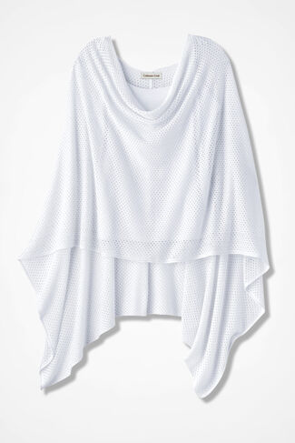 Go Casual Knit Poncho, White, large