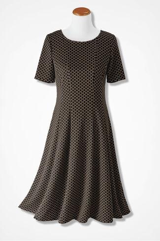 Geometric Fit-n-Flare Dress, Black, large