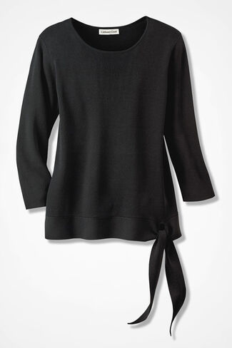 Elegance Side-Tie Sweater, Black, large
