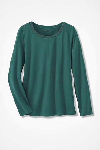 Glimmer-Trim Tee, Emerald, large