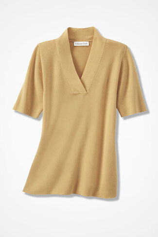 Crossover V-Neck Pullover, Wheat, large